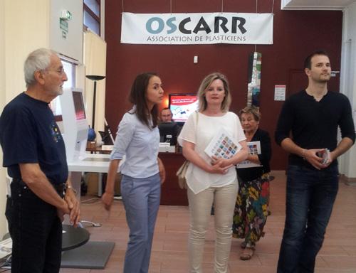 Henri Baviera , notre invité d'honneur et des adjoints à la mairie de Carros, dont l'adjoint à la culture Stéphane Revello
